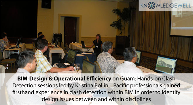 BIM-Design & Operational Efficiency on Guam - hands-on Clash Detection sessions led by kristina Bollin pacific professionals gained firsthand experience in clash detection within BIM