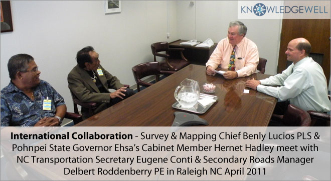 International collaboration - Survey & mapping Chief Benly Lucios PLS & Pohnpei State Givernor Ehsa Cabinet Member Hernet Hadley meet with NC Transportation Secretary Eugene Conti