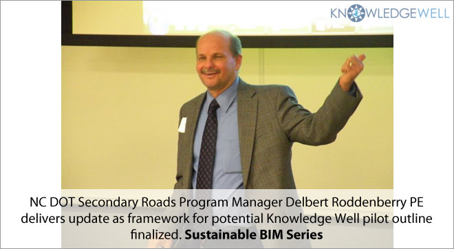NC DOT Secondary Roads Program Manager Delbert Roddenberry PE delivers update as framework for potential Knowledge Well pilot outline finalized.Sustainable BIM Series