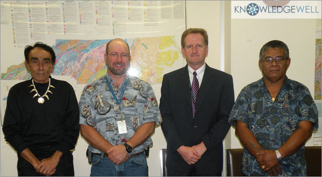 Pohnpei Director Hadley, US NGS Scott Lokken, NC Geodetic Survey Director Gary Thompson & Pohnpei Survey & Mapping Chief Lucios discuss LIDAR- the Beginning of BIM