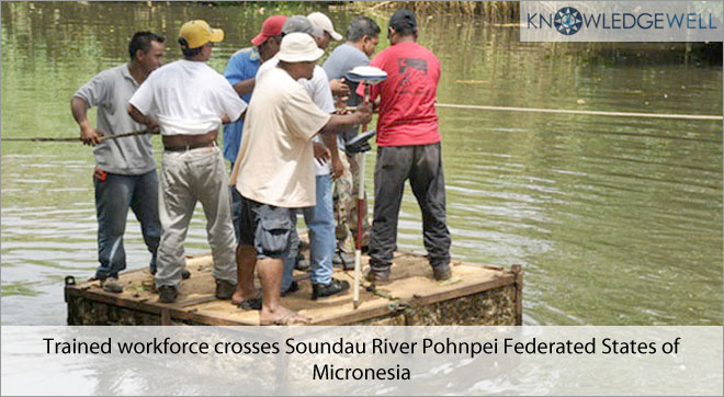 Trained workforce crosses Soundau river Pohnpei Federated States of Micronesia